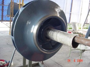 Pump impeller coated with Belzona 1341 (Supermetalglide) for efficiency enhancement