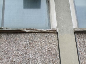 Damaged concrete windowsill