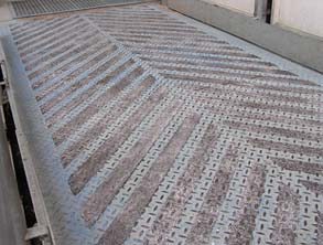 Walkway coated using Belzona 1821 (Fluid Metal) to provide a safety surface