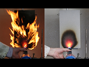 A flame spread test reveals Belzona 4141FR (right) does not burn, in comparison to an alternative concrete repair material (left)