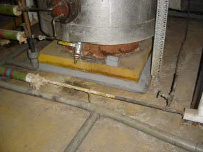 Leaking floor in a boiler plant room of a hospital